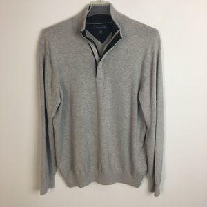 Tommy Hilfiger Sweater Quarter Zip Gray Shirt L